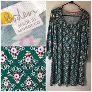 Boden Jersey Dress w/ Bell Sleeves - Green Floral